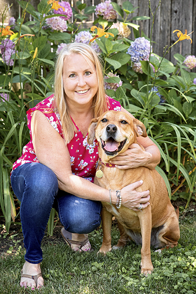Erin Shoudt with her rescue dog, Suzie